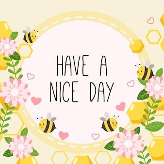 El personaje de abeja linda con flor rosa y corazón con texto de tener un buen día en el amarillo.