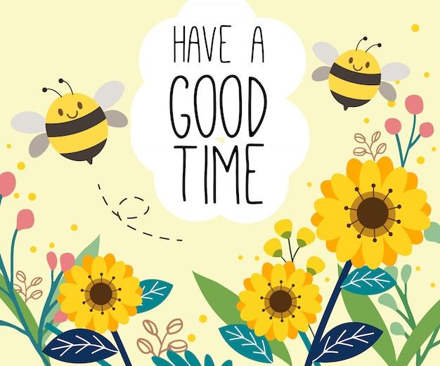El personaje de abeja linda en el jardín de girasol.