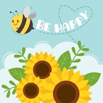 El personaje de abeja linda volando en el cielo con girasol y texto de abeja feliz.
