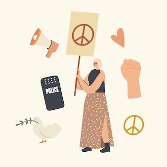 Personaje de activista femenina hippie con pancarta de signo de paz protesta por amor contra la guerra