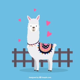 Personaje adorable de alpaca con diseño plano