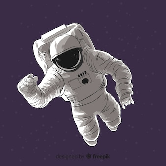 Personaje adorable de astronauta dibujado a mano