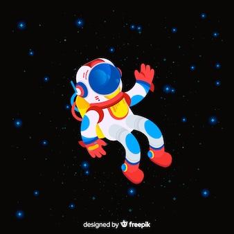 Personaje adorable de astronauta con diseño plano