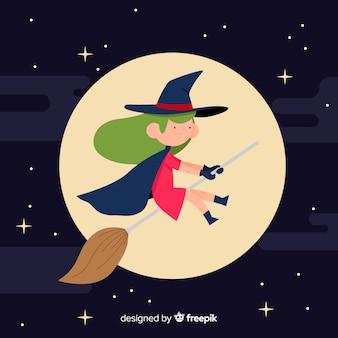 Personaje adorable de bruja con diseño plano
