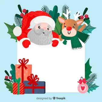 Personaje adorable de navidad sujetando plantilla vacía