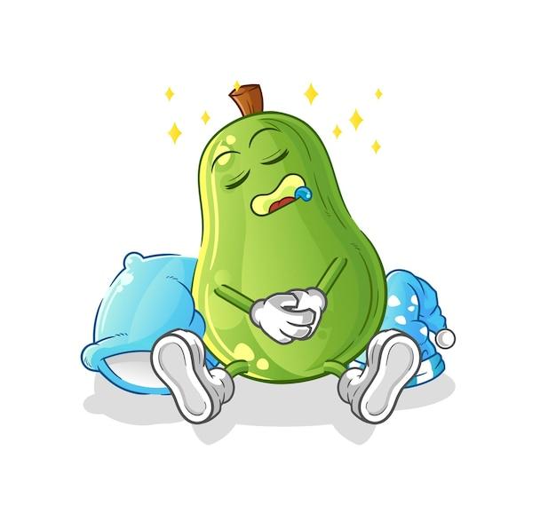 Personaje de aguacate durmiendo. vector de mascota de dibujos animados
