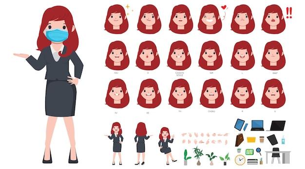 Personaje de animación boca y cara linda empresaria.
