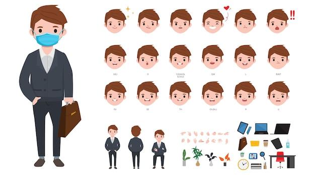Personaje de animación boca y rostro lindo empresario.