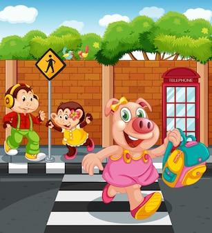 Personaje animal de dibujos animados yendo a la escuela