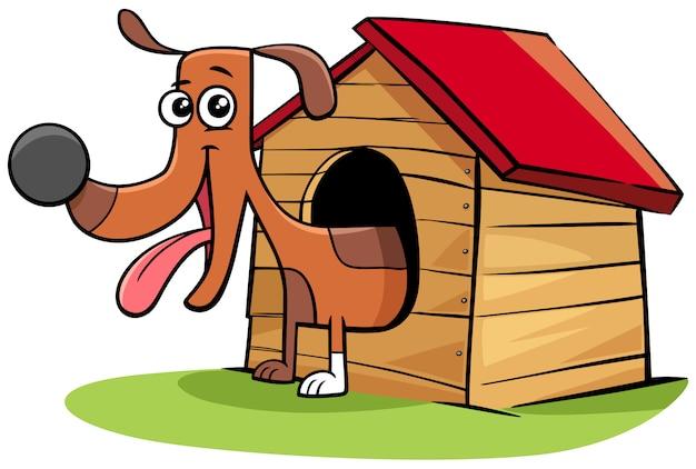 Personaje de animal de perro de dibujos animados en su caseta de perro
