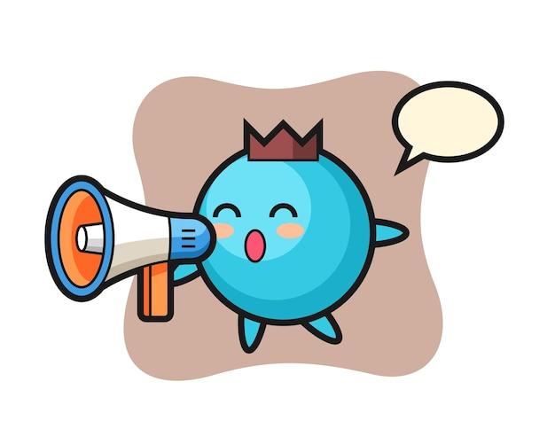 Personaje de arándano sosteniendo un megáfono