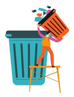 Personaje arrojando residuos de papel, carácter aislado con papelera y páginas. resolución de problemas ecológicos, reciclaje y cuidado ambiental de la naturaleza. reducir la contaminación de la basura, vector de estilo plano