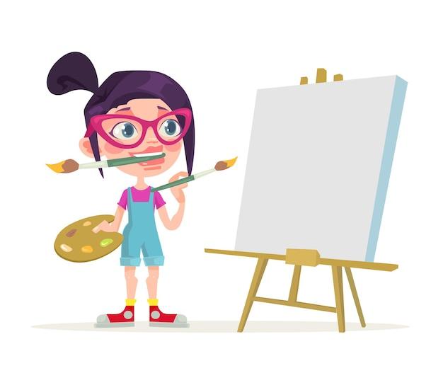 Personaje de artista de niña pequeña. lienzo en blanco. ilustración de dibujos animados plano de vector