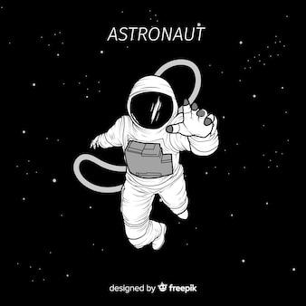 Personaje de astronauta en el espacio dibujado a mano