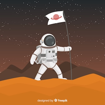 Personaje de astronauta moderno con diseño plano