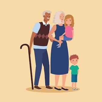 Personaje de avatar de abuelos con nietos