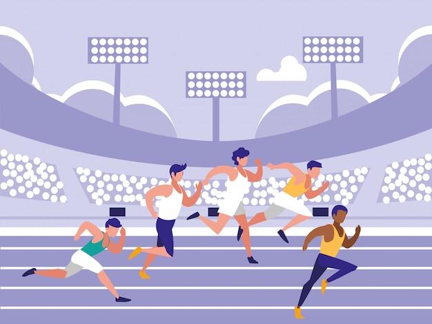 Personaje de avatar de carrera de atletismo masculino