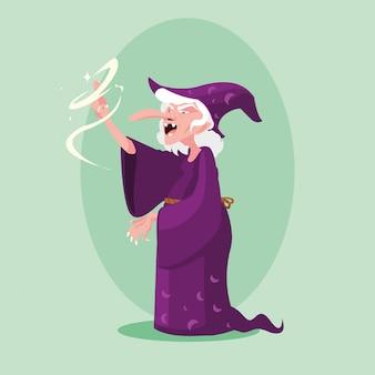 Personaje de avatar de cuento de hadas mágico bruja