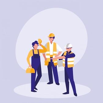 Personaje de avatar de grupo de constructores