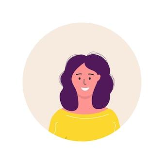 Personaje de avatar de icono de moda de las mujeres. ilustración de vector plano de gente alegre y feliz. marco redondo. retratos femeninos, grupo, equipo. adorable niña aislada sobre fondo blanco
