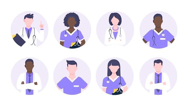 Personaje de avatar médico de pie en la ilustración de vector de diseño de estilo plano de círculo