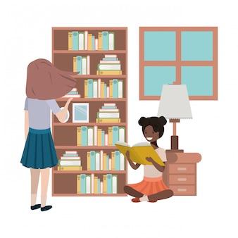 Personaje de avatar de mujeres en la biblioteca