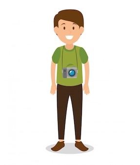 Personaje de avatar turístico hombre