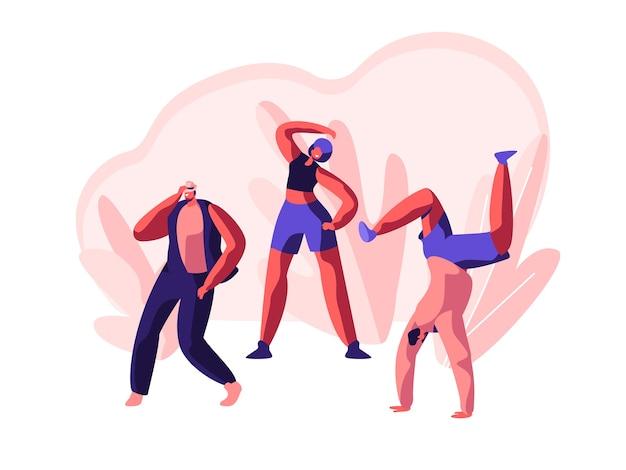 Personaje bailando breakdance extremo en la calle. fiesta de acción fresca de música libre. hombre joven, adolescente acrobático flexible. movimiento, actividad deporte danza. ilustración de vector de dibujos animados plana