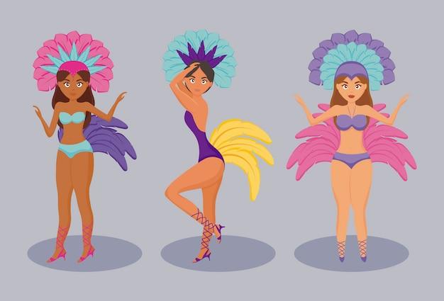 Personaje de bailarina de garota brasileña.