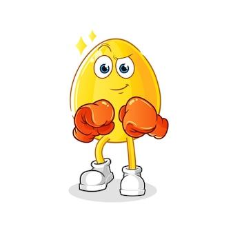 Personaje de boxeador de huevo dorado. mascota de dibujos animados