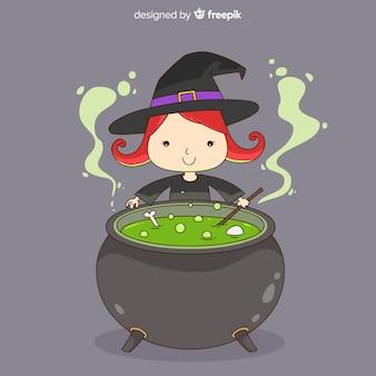 Personaje de bruja adorable dibujada a mano