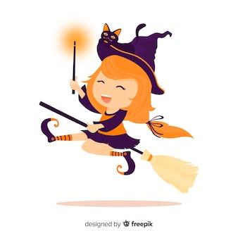 Personaje de bruja adorable con diseño plano
