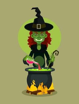 Personaje de bruja preparando poción ilustración de dibujos animados plana