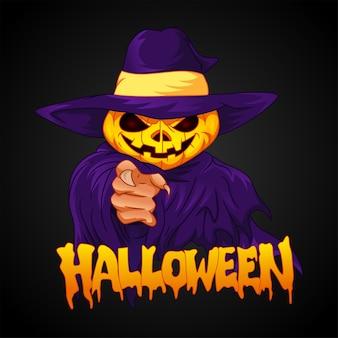 Personaje de cabeza de calabaza de halloween