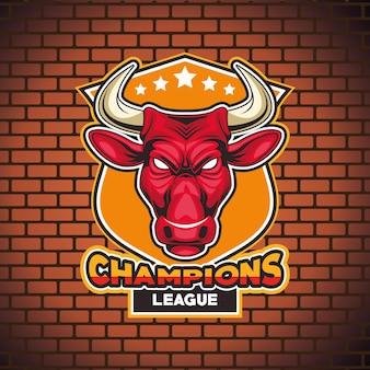 Personaje de cabeza salvaje animal toro con letras en la ilustración de la pared