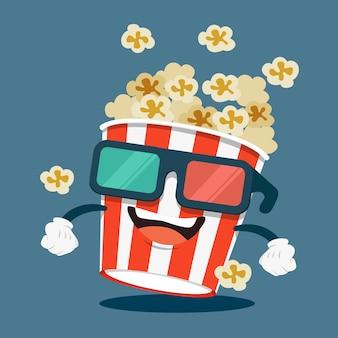 Personaje de caja de palomitas de maíz con gafas de cine 3d sonriendo