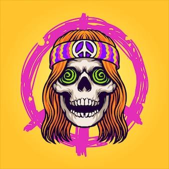 Personaje de calavera hippie