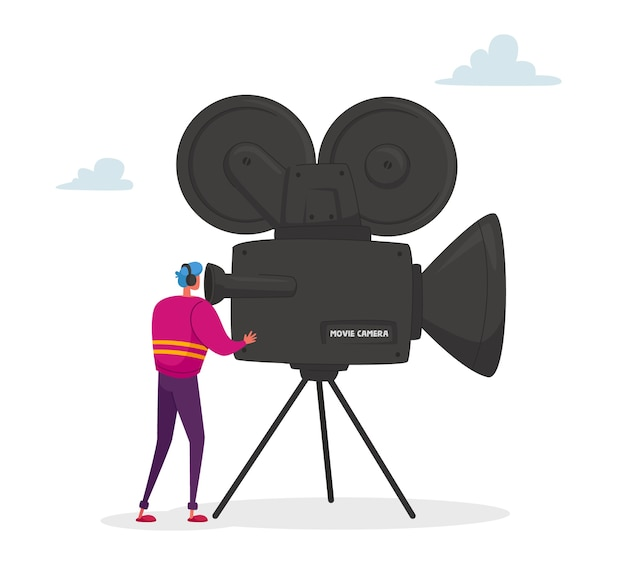 Personaje de camarógrafo mirando a través de la cámara de cine en el trípode tomando video