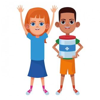 Personaje de cartón de avatar de niños pequeños