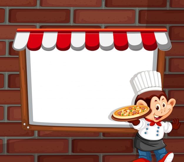 Un personaje de chef mono con copyspace.