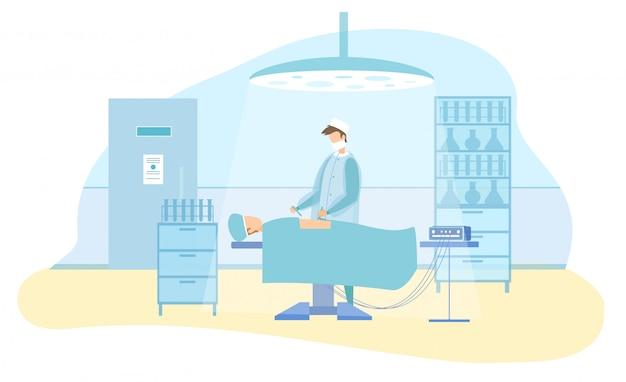 Personaje de cirujano realiza operación laparoscópica