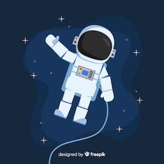 Personaje clásico de astronauta con diseño plano