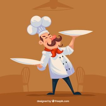 Personaje de cocinero feliz con dos platos