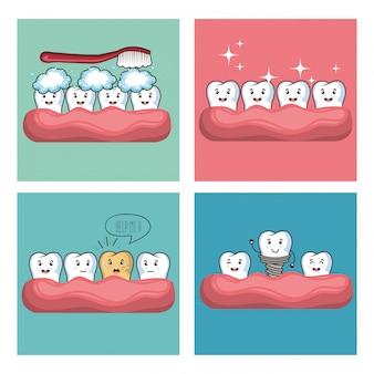 Personaje de comi kawaii de cuidado dental