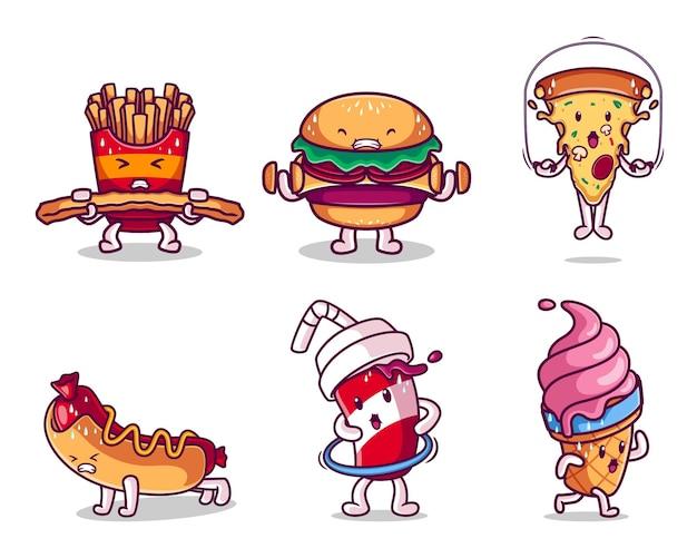 Personaje de comida rápida haciendo colección de ejercicios.