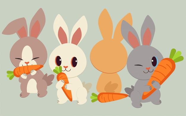 El personaje de conejos lindos con la zanahoria. el conejo hollando y comiendo la zanahoria.