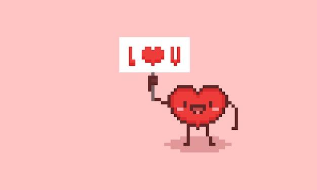 Personaje de corazón lindo de dibujos animados de pixel art con un cartel.
