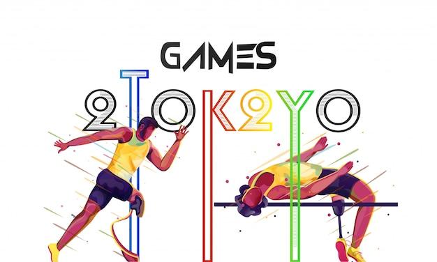 Personaje de corredor paralímpico con athlete man high jump crossbar fondo blanco, juegos olímpicos 2020.