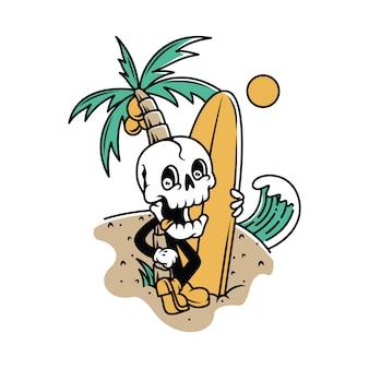 Personaje cráneo listo jugando surf ilustración gráfica