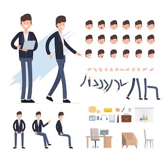 Personaje de creación de personas de negocios para escena de animación.